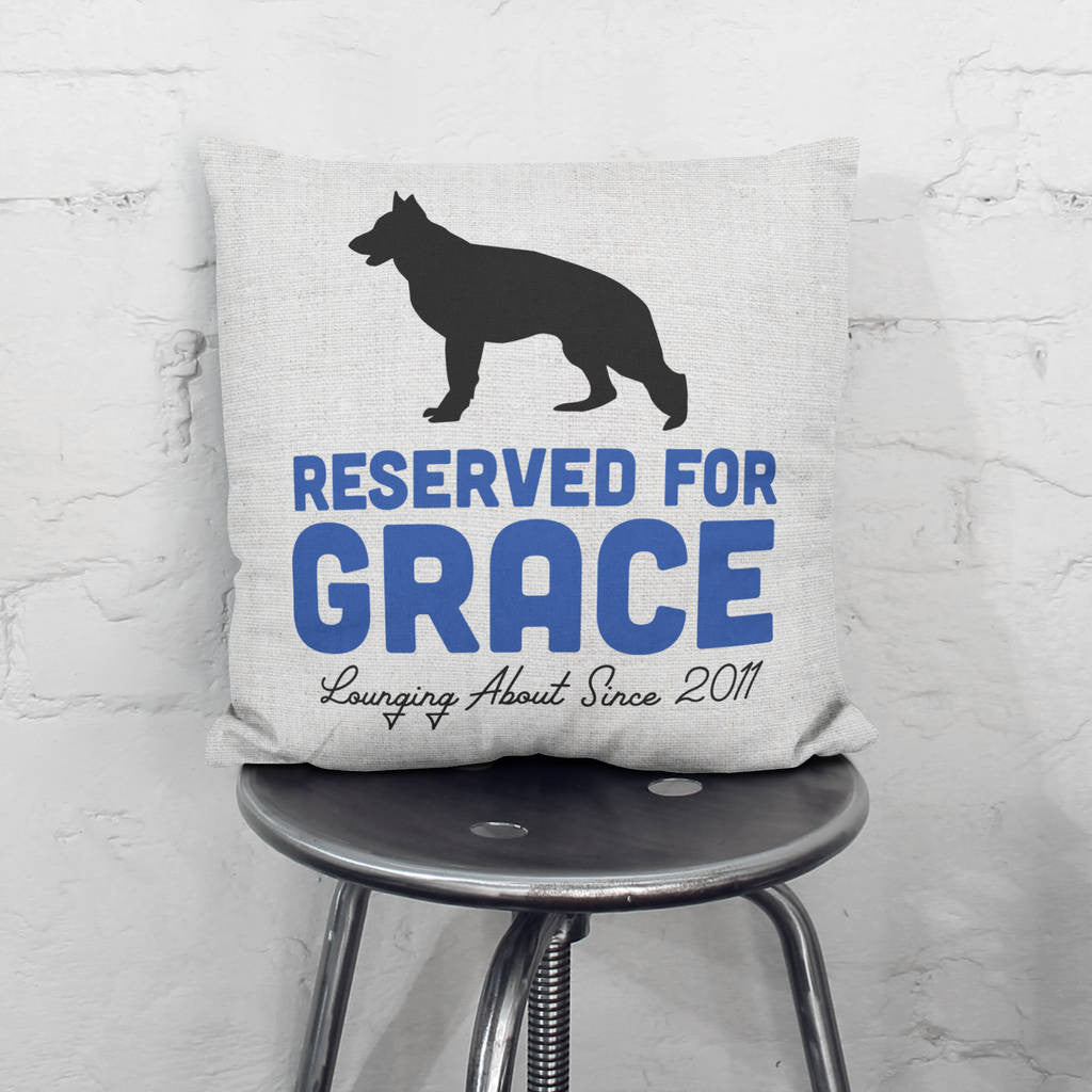 Personalised Reserved For The Dog Cushion