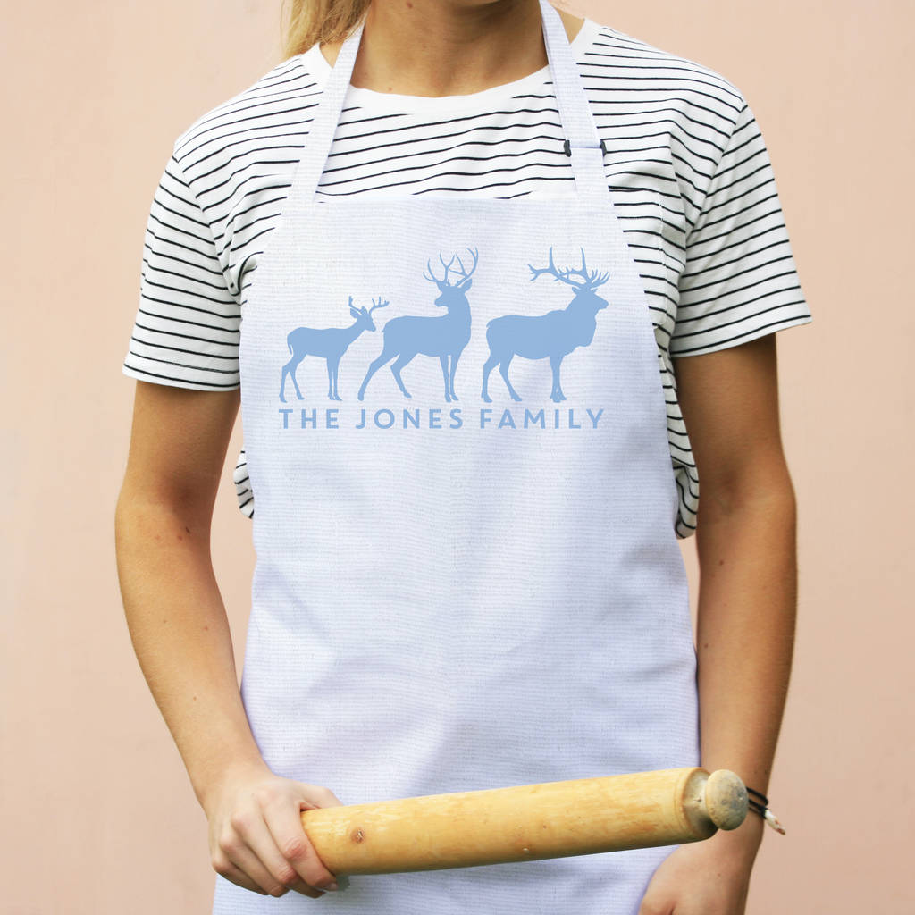 Personalised Stag Family Apron