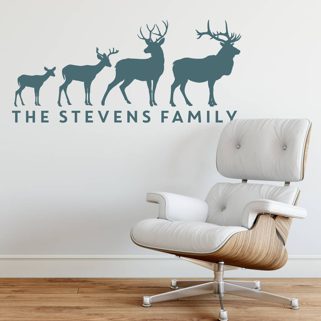 Personalised Stag Family Wall Sticker