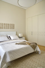 Modern Islamic - show home - Master Bedroom with built in wardrobes with carved details on doors