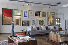 Main reception area with lots of attention for the owners' extensive art collection.