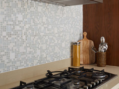 Mosaic tiled backsplash in the kitchen