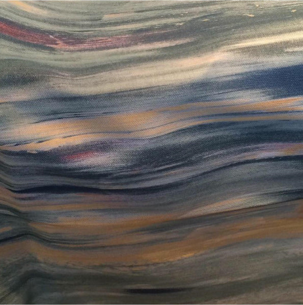 Close up of the Safari River Sunset fabric