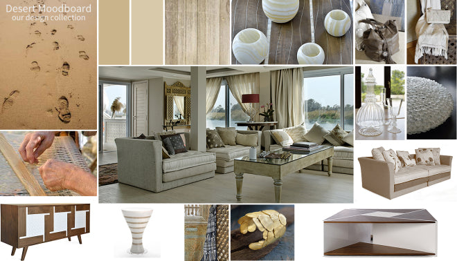 Hedayet's Desert Moodboard can be viewed at Jam Space for inspiration for soft colour palettes and natural materials.