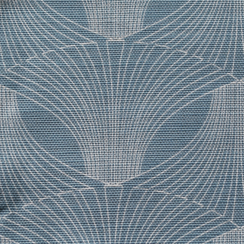 Close up of Edfu Flower Denim Blue fabric