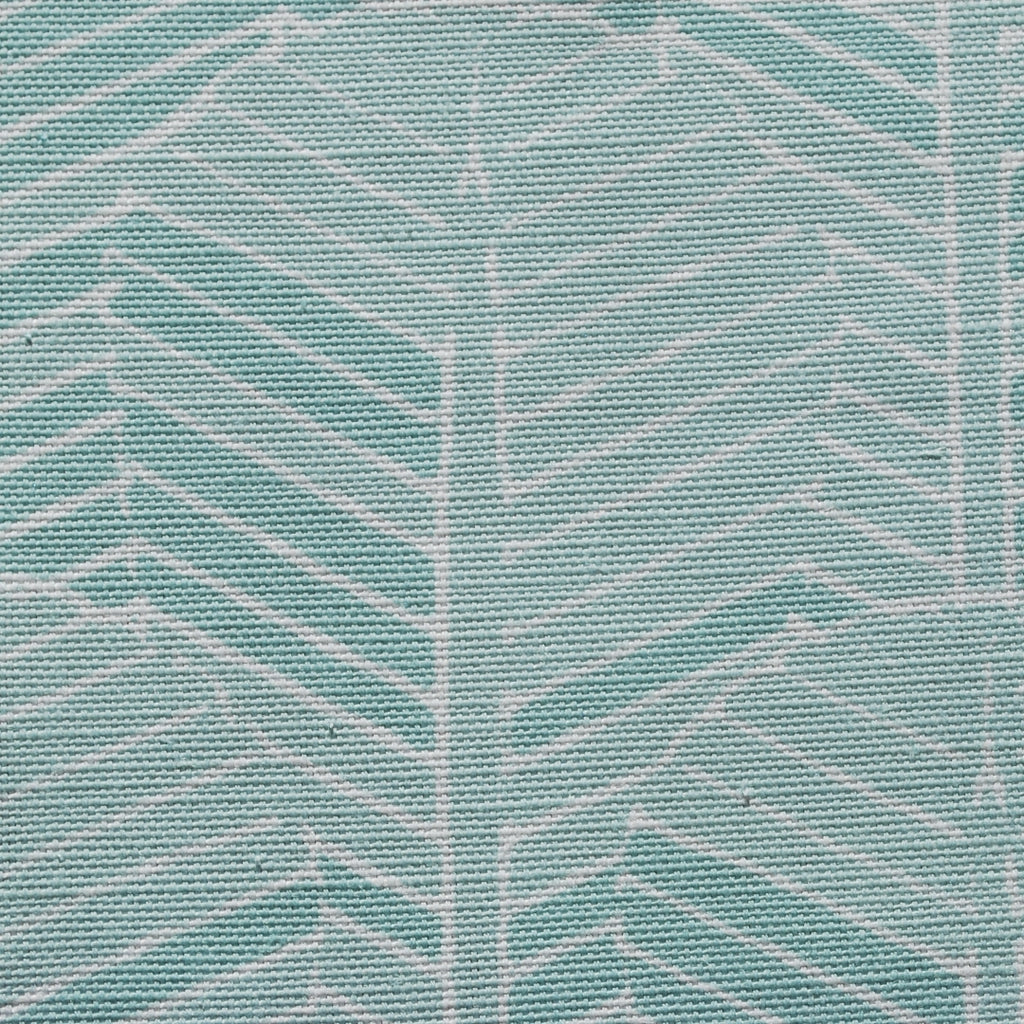 Close up of Edfu Palm Aqua fabric
