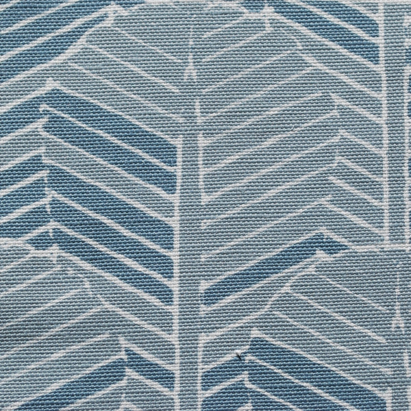 Closeup of Edfu Palm Denim Blue fabric