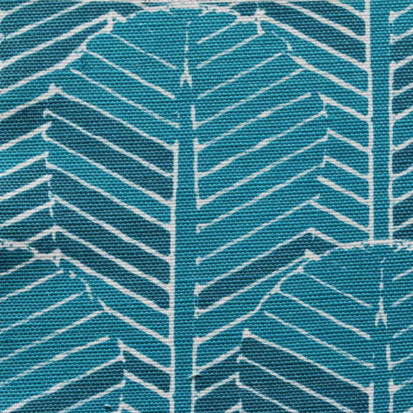 Close up of Edfu Palm Kingfisher fabric