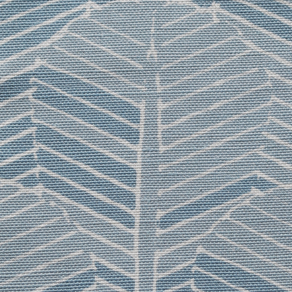 Close up of Edfu Palm Light Blue fabric