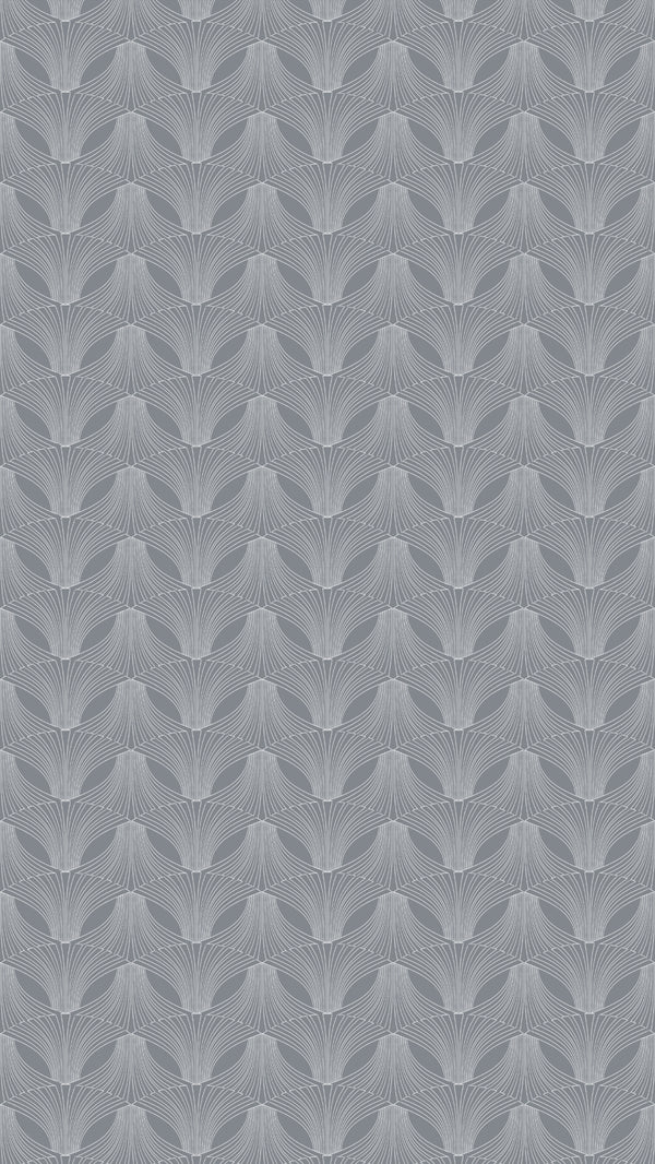 Full width of Edfu Flower Ice Grey wallpaper
