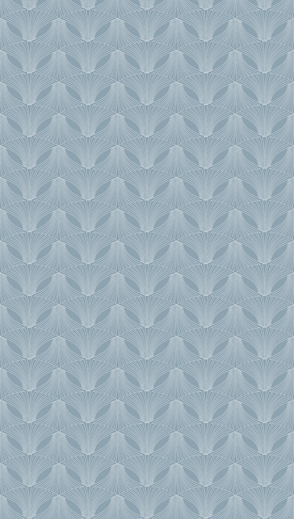 Full width of Edfu Flower Light Blue wallpaper