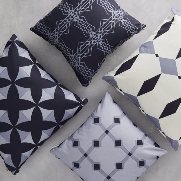 Cushions Covers Almaz Grey, Rhombus Grey, Intersecting Stars Black&Grey and Tulun Grey