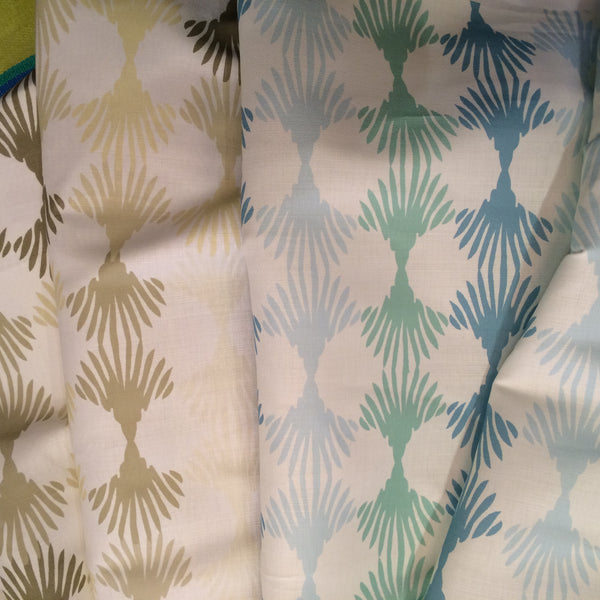 Lotus blue & green  and Lotus beige & white fabric