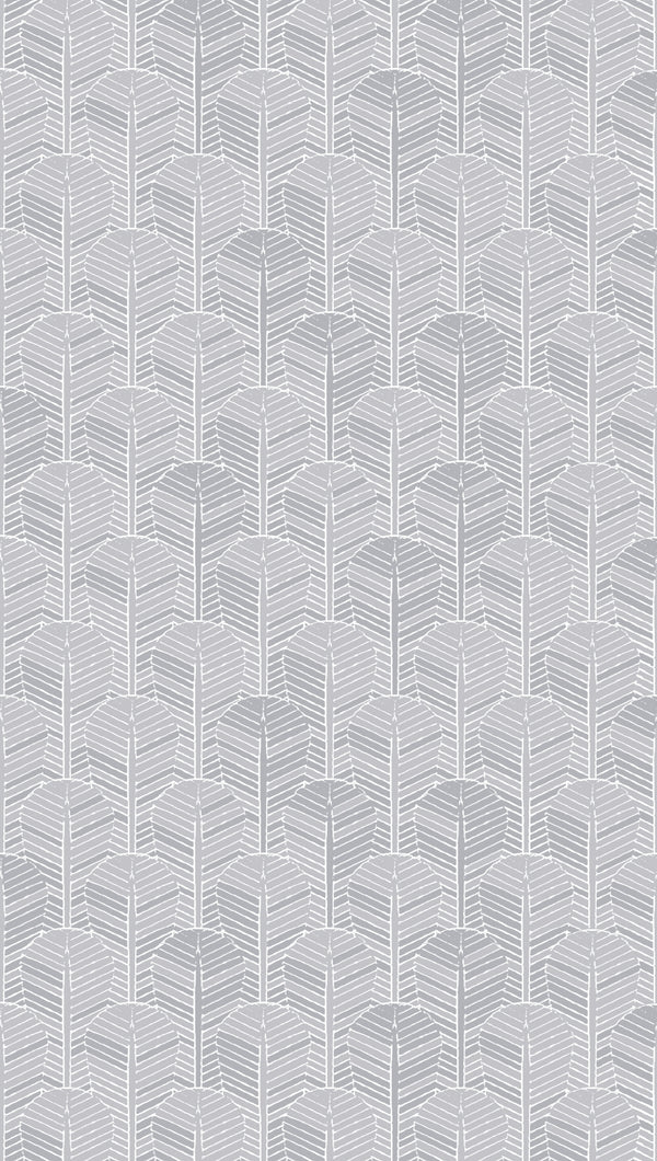 Full width of Edfu Palm Ice Grey wallpaper