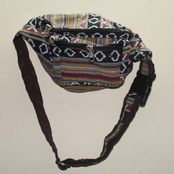 Multicolored Knitted Ethnic Design Waist Bag