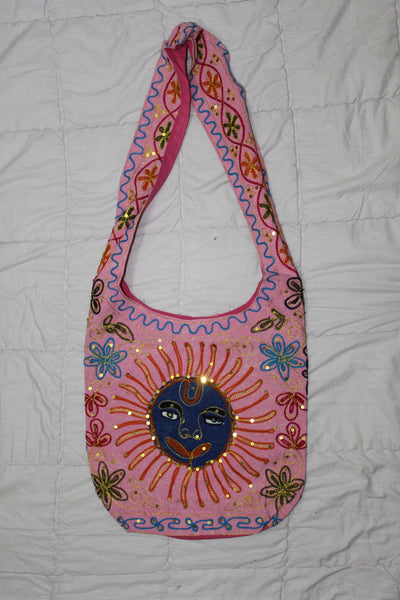 Beautiful Embroidered Cotton & Silk Sling Bag