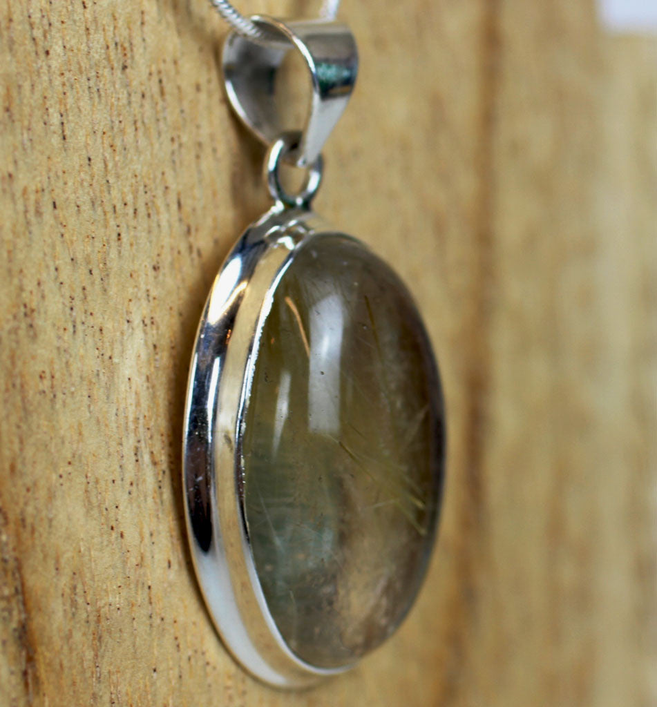 Rutilated Quartz Angel's Hair 925 Sterling Silver Pendant
