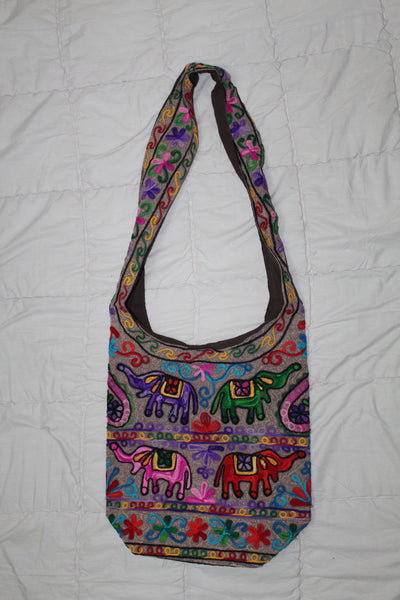 Beautiful Animal Print Embroidered Cotton & Silk Sling Bag