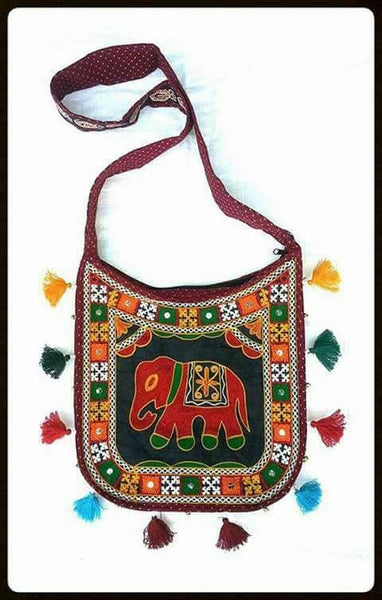 Elephant Design Embroidered Sling Bag