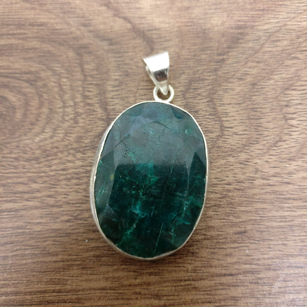 45 Carat Indian Emerald 925 Sterling Silver Pendant
