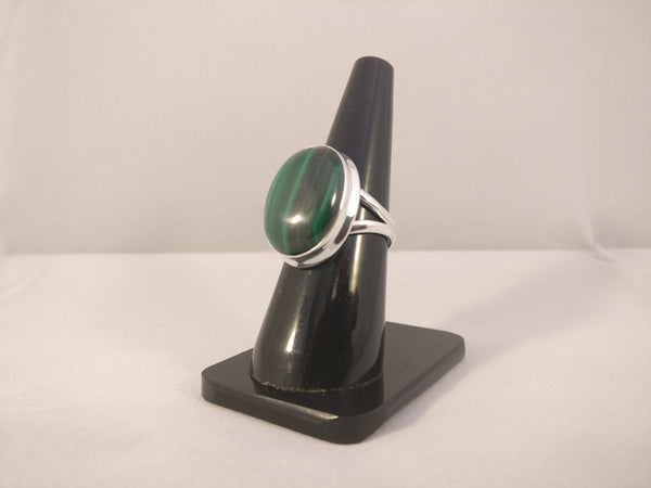 Malachite Gemstone Plain Setting Ring | Size Q