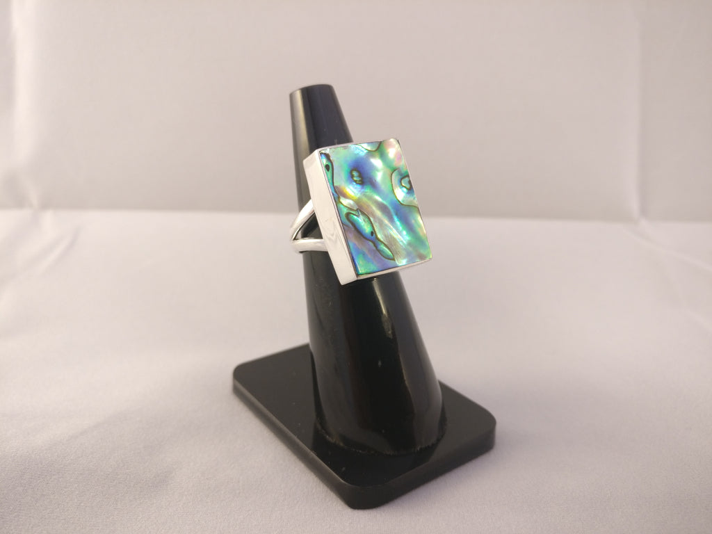 Abalone Shell Square Silver Ring | Size N