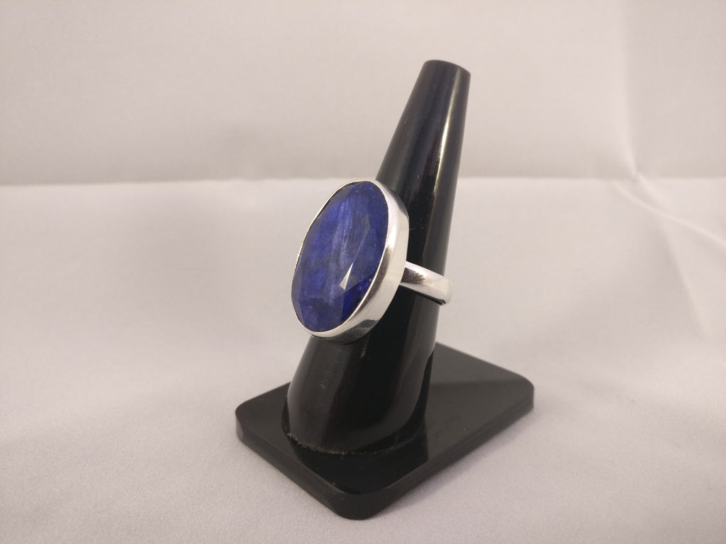Indian Rough Sapphire Ring in Plain Setting | Size T