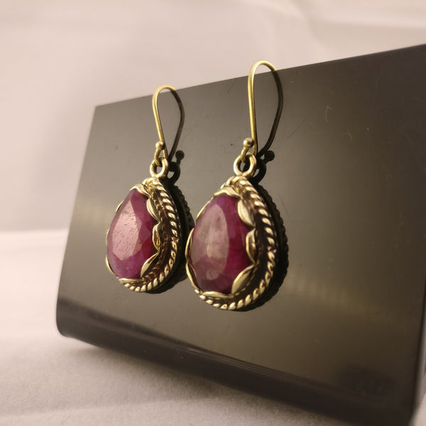 Indian Rough Ruby - Brass Setting