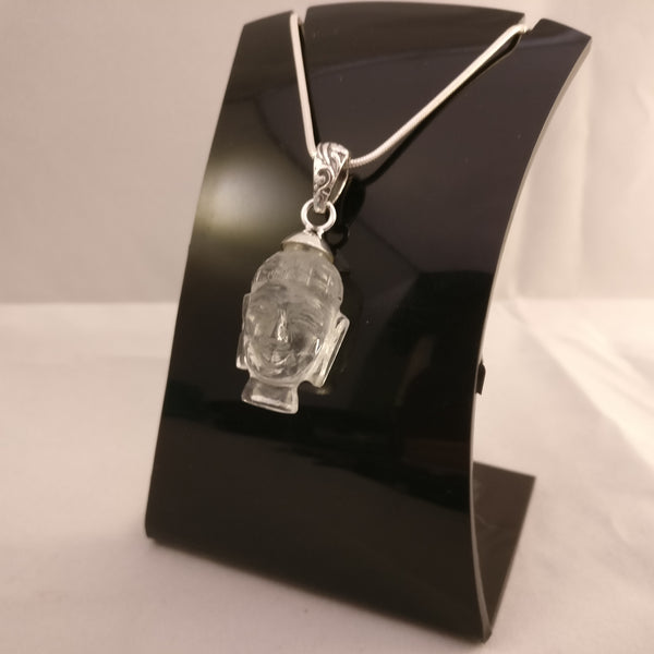 Clear Quartz Buddha's Head | 925 Sterling Silver Pendant