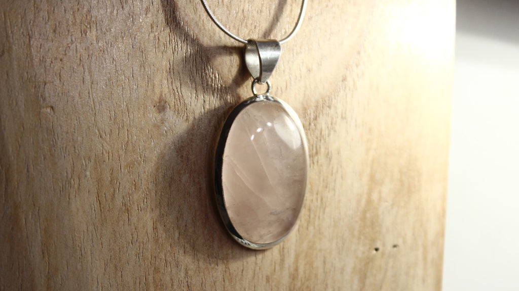 Rose Quartz Oval Gemstone Pendant 925 Sterling Silver
