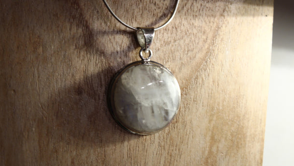 Moonstone Circle Gemstone Pendant 925 Sterling Silver