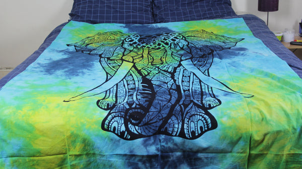 Blue, Green and Turquoise Elephant Indian Cotton Throw