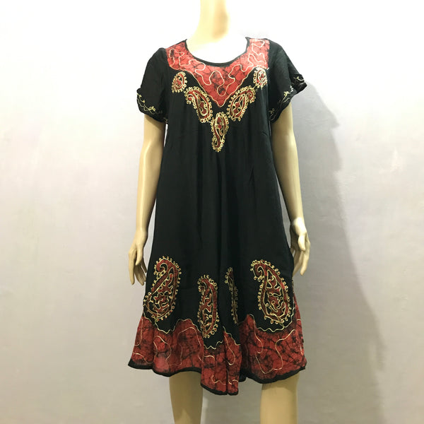 Solid Mega Sleeve Dress Embroidered Dress