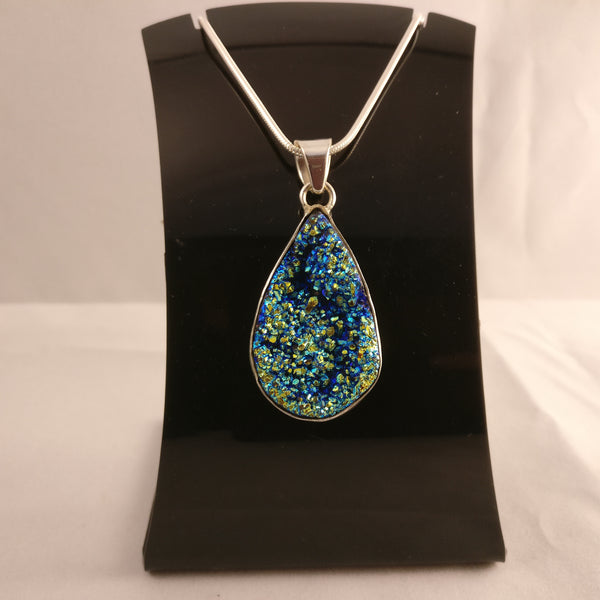 Blue Space Druzy | Agate | 925 Sterling Silver Pendant