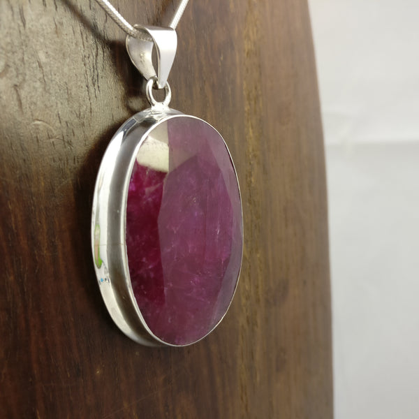 45 Carat Indian Ruby 925 Sterling Silver Pendant