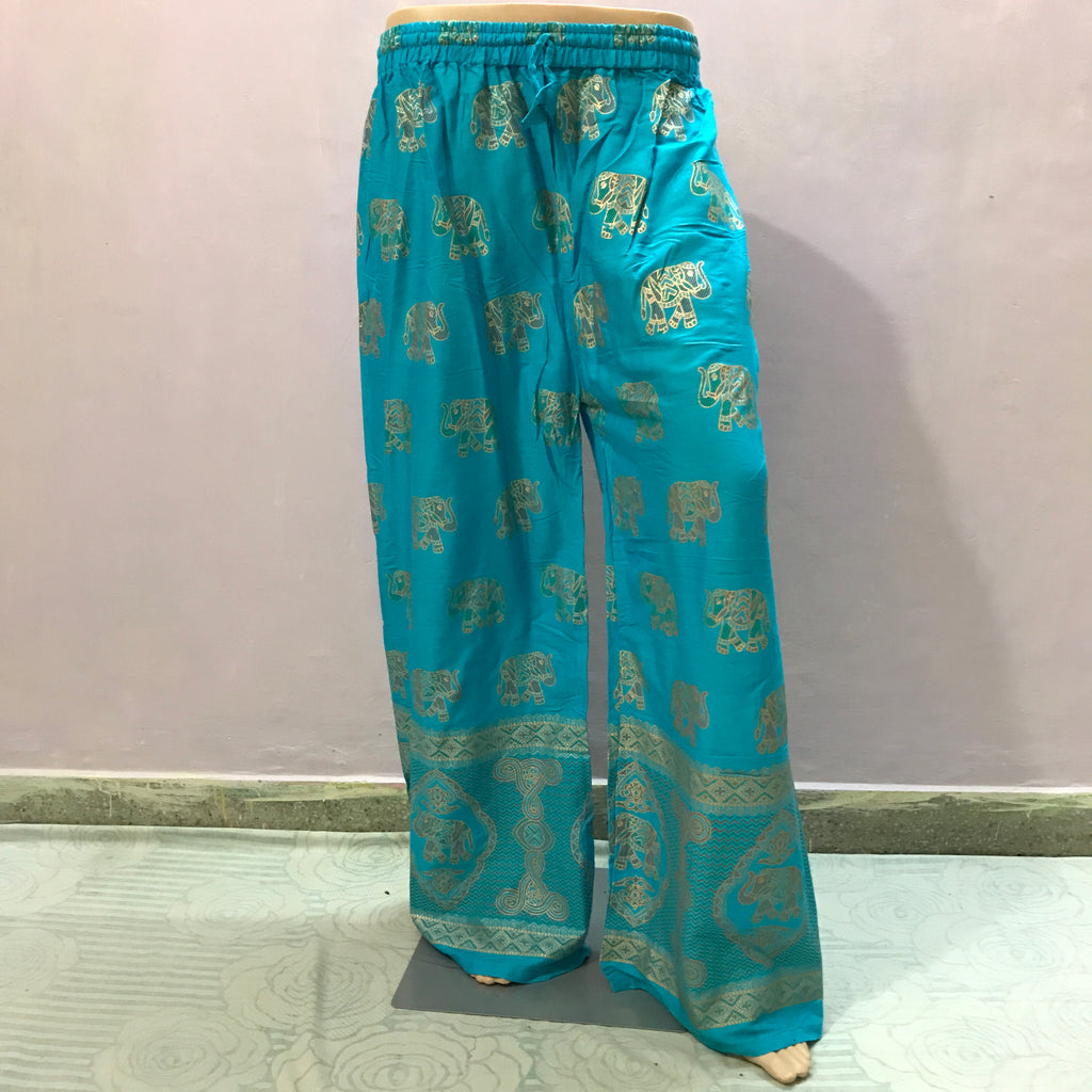 Indian Style Elephant Print Solid Colour  Loose Trousers