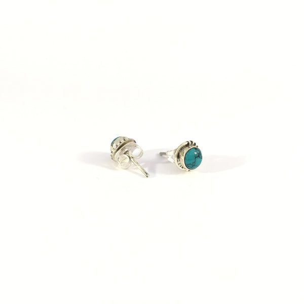 Blue Turquoise Unisex Stud Earring | 925 Sterling Silver