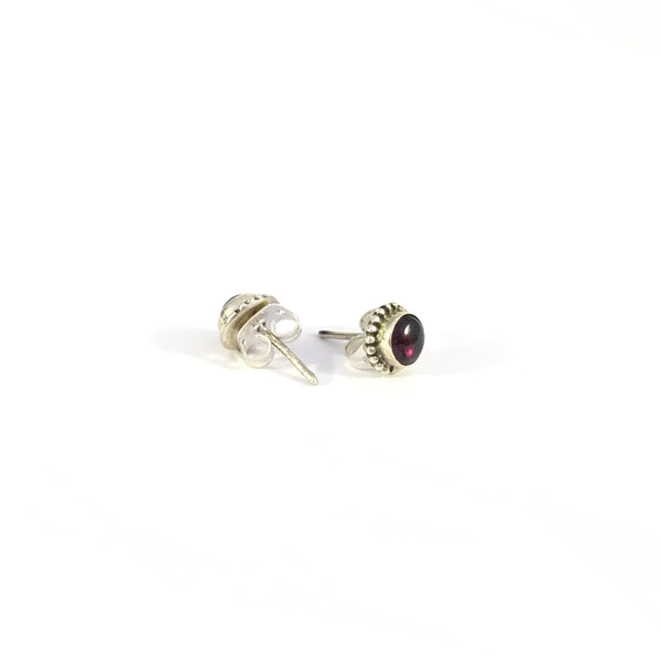 Garnet Unisex Stud Earrings | 925 Sterling Silver