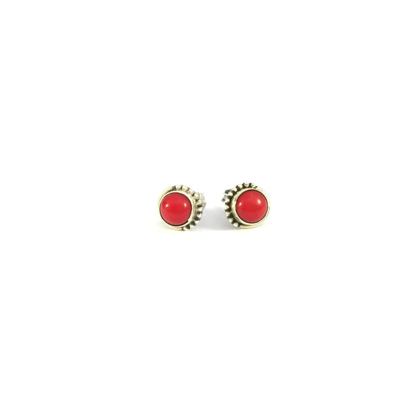 Coral Stud Earrings | 925 Sterling Silver
