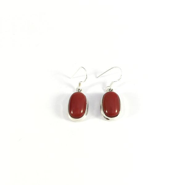 Coral Drop Earrings Plain Setting | 925 Sterling Silver