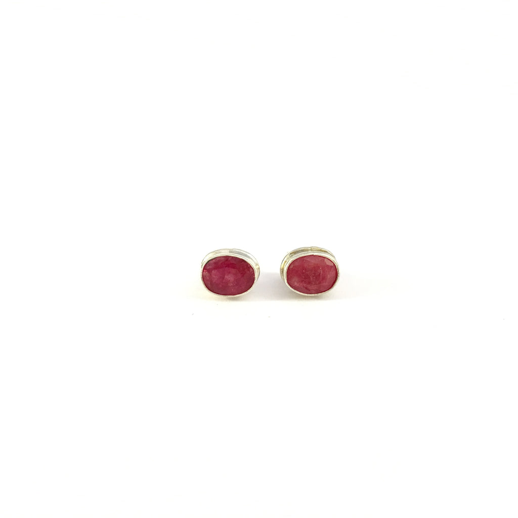 Ruby Stud Earrings | 925 Sterling Silver