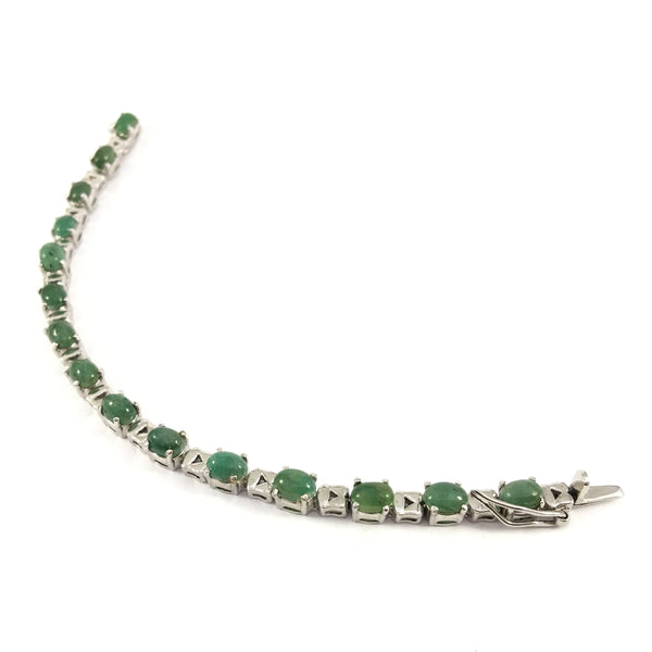 Round Indian Emerald | Tennis Bracelet | 925 Sterling Silver