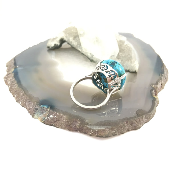 Large Turquoise in Floral Setting | Size Q | 925 Sterling Silver