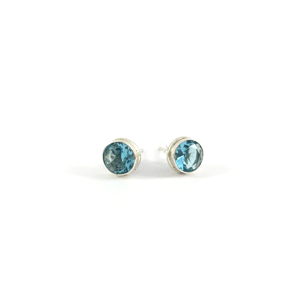 Blue Topaz Unisex Stud Earrings | 925 Sterling Silver
