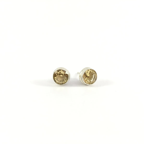 Citrine Stud Unisex Earrings | 925 Sterling Silver
