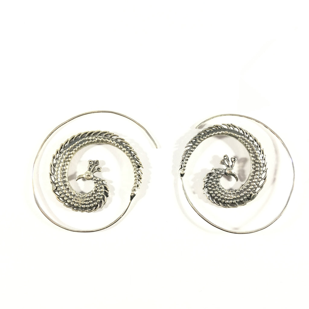 Peacock Feather and Head Hoop Earrings 925 Sterling Silver