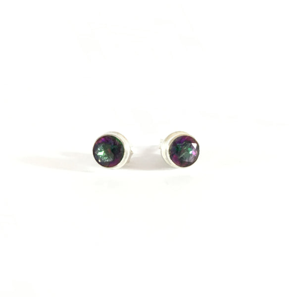 Mystic Topaz (Green and Purple) Unisex Stud Earrings | 925 Sterling Silver