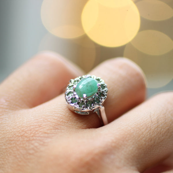 Emerald Ring | Size P | 925 Sterling Silver