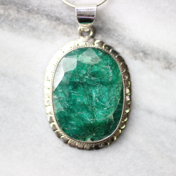 Natural Rough Indian Emerald 925 Sterling Silver Pendant