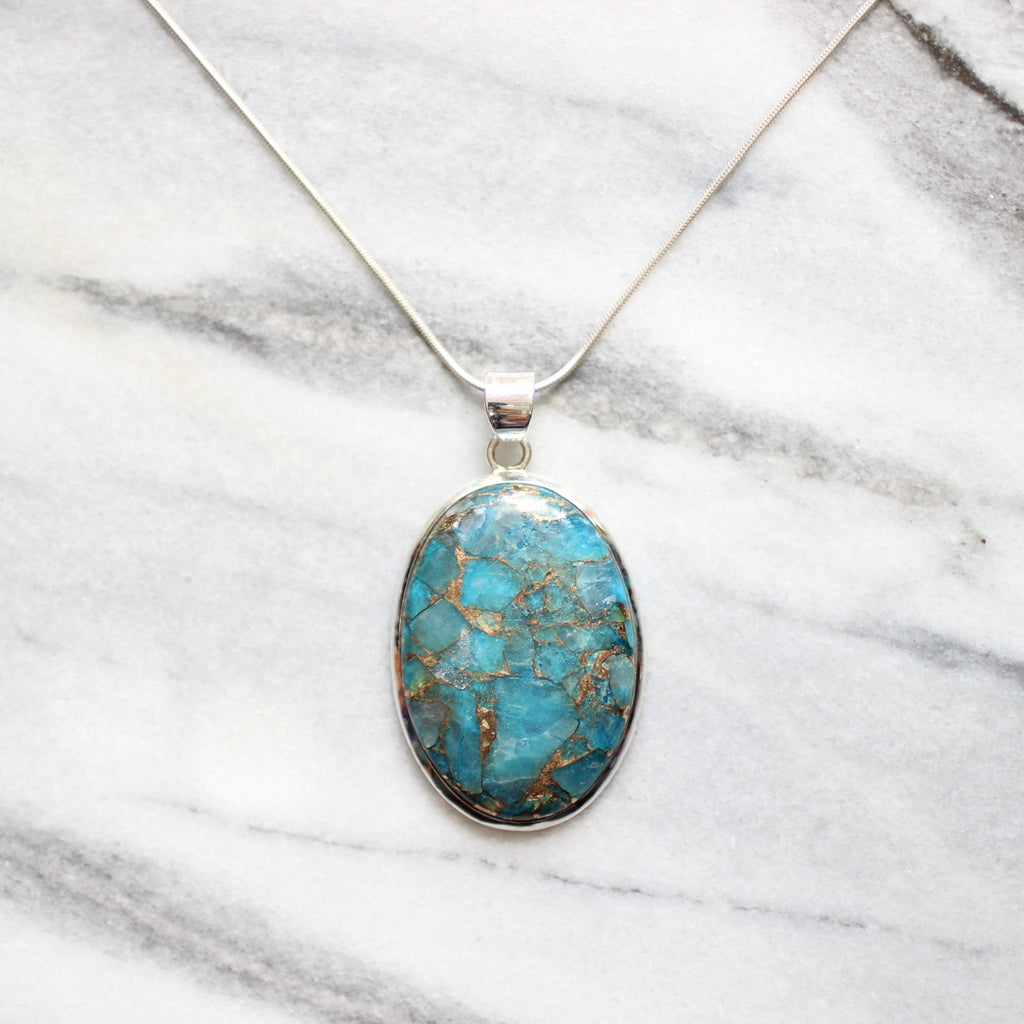 Natural Copper Turquoise Veins Plain Setting 925 Sterling Silver Pendant